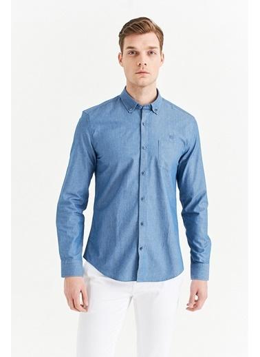 Avva Erkek  Düğmeli Yaka Slim Fit Gömlek A01Y2148 Mavi